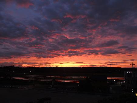 季節限定:水田も色付く夕焼け