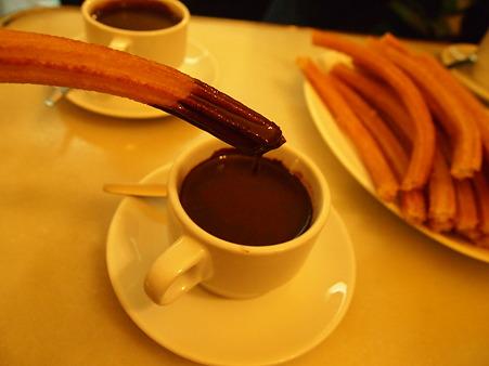 ほっとチョコレートにつけて食べます
