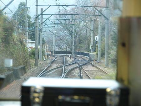 箱根登山電車の車窓(仙人台信号場)